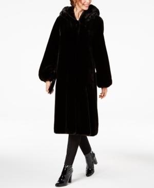 1920s Coats, Flapper Coats, 20s Jackets Jones New York Petite Hooded Faux-Fur Coat $259.99 AT vintagedancer.com