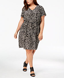 Eileen Fisher Plus Size Silk Printed Dress