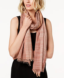 Eileen Fisher Organic Cotton Printed Fringed Scarf