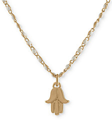 "RACHEL Rachel Roy Gold-Tone Hamsa Beaded Pendant Necklace, 16"" + 2"" extender"