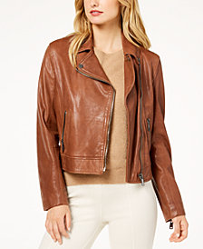 Weekend Max Mara Zucca Cropped Leather Jacket
