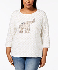 Karen Scott Plus Size Cotton Elephant-Graphic T-Shirt, Created for Macy's