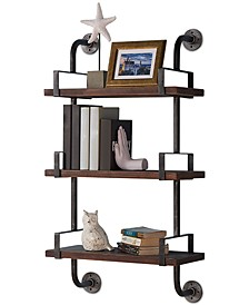 """40"""" Booker Industrial Pine Wood Floating Wall Shelf in Gray and Walnut Finish"""