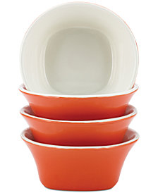 Rachael Ray Round & Square Orange Set of 4 Fruit Bowls