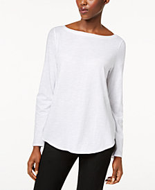 Eileen Fisher Organic Cotton Bateau-Neck Top
