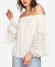 1.STATE Off-The-Shoulder Lace-Sleeve Top