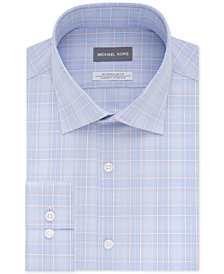 Michael Kors Men's Classic/Regular Fit Non-Iron Airsoft Stretch Performance Blue & Orange Check Dress Shirt