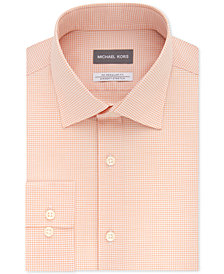 Michael Kors Men's Classic/Regular Fit Non-Iron Airsoft Stretch Performance Peach Check Dress Shirt