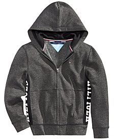 Tommy Hilfiger Big Boys Marled Logo-Print Zip-Up Hoodie