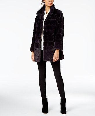 Stand Collar Faux Fur Coat by Jones New York