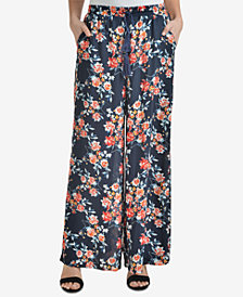 NY Collection Printed Drawstring Palazzo Pants