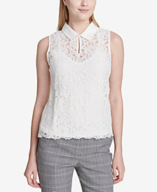 Calvin Klein Collared Lace Top