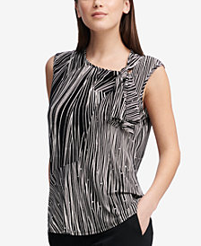 DKNY Printed Tie-Neck Top, Created for Macy's