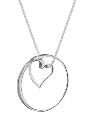 Inspirational Sterling Silver Necklace, Children and Mothers Never Part Pendant