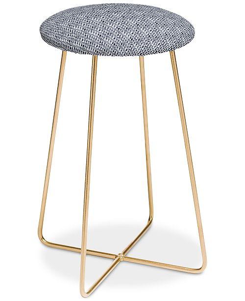 Superb Little Arrow Design Co Arcadia Herringbone In Indigo Counter Stool Machost Co Dining Chair Design Ideas Machostcouk