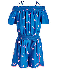 Epic Threads Big Girls Flamingo-Print Romper, Created for Macy's