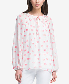 DKNY Printed Peasant Top