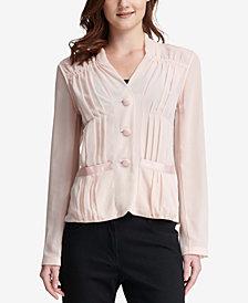 DKNY Sheer Long-Sleeve Blouse