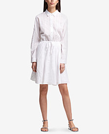 DKNY Cotton Striped Drawstring-Waist Shirtdress, Created for Macy's