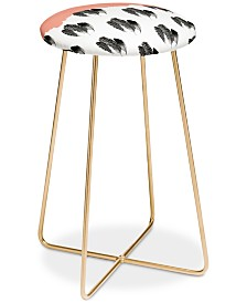 Deny Designs Morgan Kendall Painted Feathers Counter Stool