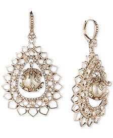 Marchesa Gold-Tone Crystal & Imitation Pearl Openwork Drop Earrings
