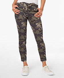 Black Daisy Juniors' Printed Skinny Ankle Jeans