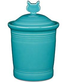 Turquoise Cat Treat Jar