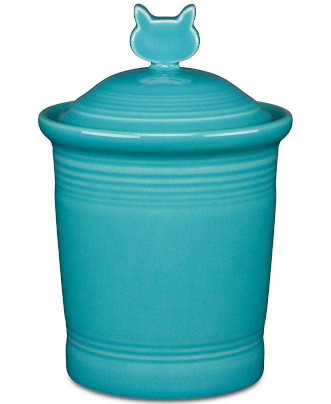 Fiesta Turquoise Cat Treat Jar