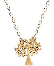 "Tiny Family Tree 17"" Pendant Necklace in 10k Gold"