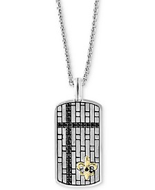 "EFFY® Men's Black Sapphire Dog Tag 22"" Pendant Necklace (3/4 ct. t.w.) in Sterling Silver & 14k Gold"