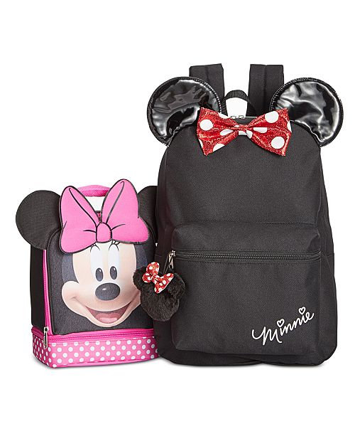 1089393f921 Disney Minnie Mouse Little   Big Girls Backpack   Double-Compartment Lunch  Bag