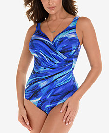 Miraclesuit Breakers Printed Oceanus Twist-Front Allover Slimming One-Piece Swimsuit