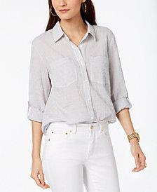 MICHAEL Michael Kors Petite Striped Button-Front Shirt