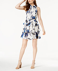 julia jordan Floral Print Ruffled A-Line Dress