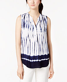 Anne Klein Split-Neck Tie-Dye Top