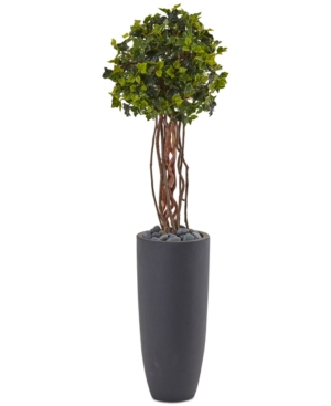 Nearly Natural 35 English Ivy UvResistant IndoorOutdoor Artificial Tree in Gray Cylinder Planter