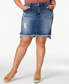 Seven7 Trendy Plus Size Distressed Denim Skirt
