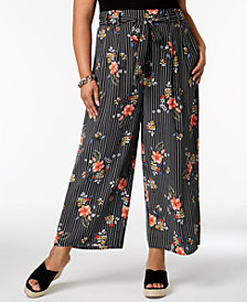 Soprano Trendy Plus Size Printed Tie-Waist Pants