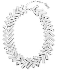 "Steve Madden Silver-Tone Arrow Collar Necklace, 18"" + 4"" extender"