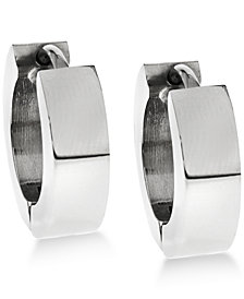 Sutton by Rhona Sutton Men's Stainless Steel Huggie Hoop Earrings