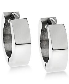 Sutton by Rhona Sutton Men's Stainless Steel Huggie Hoop Earrings