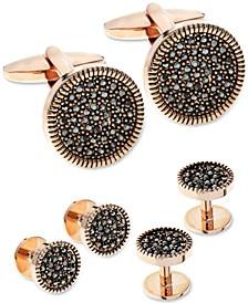 Sutton by Men's Rose Gold-Tone 3-Pc. Set Hematite Cubic Zirconia Cufflinks