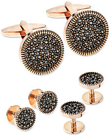 Sutton by Rhona Sutton Men's Rose Gold-Tone 3-Pc. Set Hematite Cubic Zirconia Cufflinks