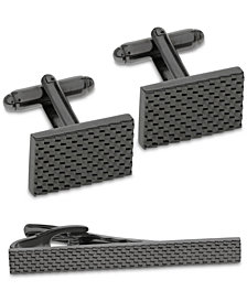 Sutton by Rhona Sutton Men's Gunmetal-Tone Textured Cufflinks & Tie Bar Set