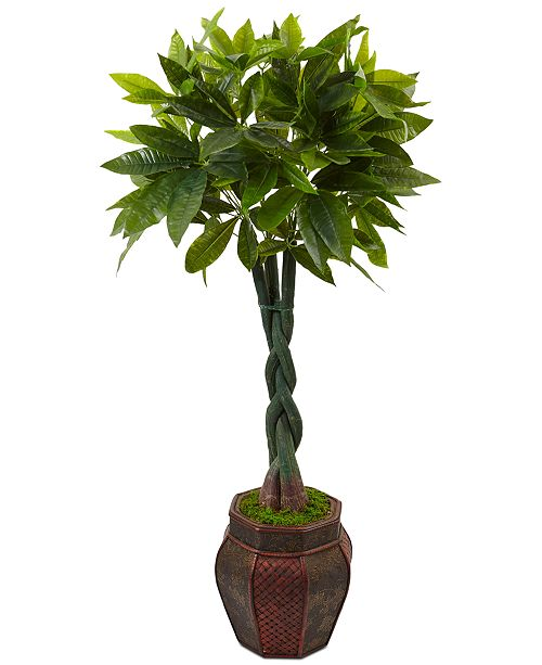 Nearly Natural 4.5' Money Artificial Tree in Mixed-Pattern Planter