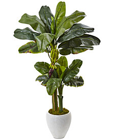 Nearly Natural 5' Banana Double-Stalk Artificial Tree in White Planter