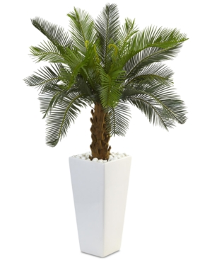 Nearly Natural 3 Cycas Artificial Tree in White Tower Planter