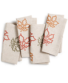 CLOSEOUT! BardwilStitched Leaf Napkins, Set of 4