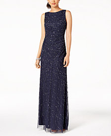 Adrianna Papell Petite Sequined Cowl-Back Gown