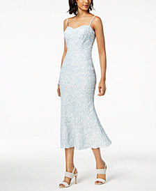 Betsy & Adam Embossed Mermaid Midi Dress